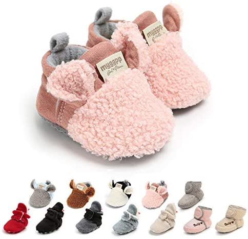 Ohwawadi Infant Baby Girls Slippers Cozy Fleece Booties Soft Bottom Warm Cartoon Socks Newborn product image