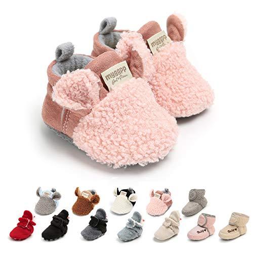 Ohwawadi Infant Baby Girls Slippers Cozy Fleece Booties Soft Bottom Warm Cartoon Socks Newborn Crib Shoes (0-6 Months, A-Pink)