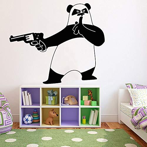 BailongXiao Niedlicher Cartoon Wandaufkleber krimineller Pandabär mit Pistole Vinyl Wandtattoo Kinderzimmer Kinderzimmer Wohnaccessoires 52x63cm
