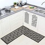 VANZAVANZU Kitchen Rugs Set, 2 Pack Kitchen Mats Non Slip Latex Backing Super Absorbent Rug Sets, Durable Microfiber Washable Kitchen Carpet Sets for Kitchen Floor, 43'x20'+34'x20' (Gray)