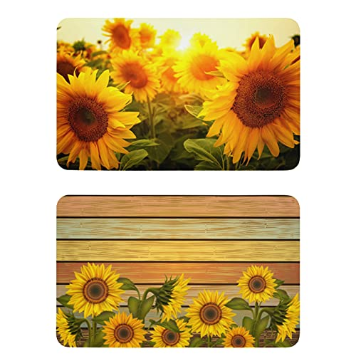 Naanle Wooden Sunflower Refrigerator Magnets Fridge Magnets Set of 2 Locker Magnets Sunflower Dishwasher Magnet Sign Magnetic Plate for Home Kitchen Office Cabinets Washing Machine Decorative