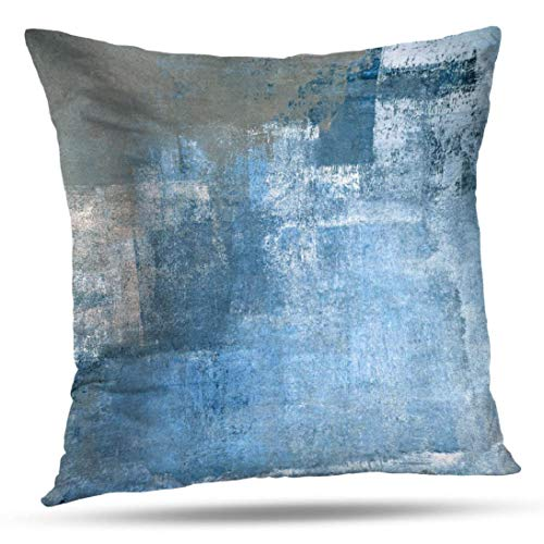 Alricc Grey and Blue Abstract Art Pillow Cover, Modern Contemporary Decorative Throw Pillows Cushion Cover for Bedroom Sofa Living Room 16 x 16 Inch