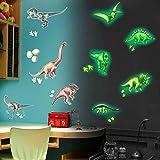 Pajaver 9 Pezzi Adesivi Luminosi al Buio Dinosauri, Fluorescenti Decorazione Adesive Murali per Bambini Camera Soffitto Porta Finestra