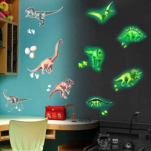 Pajaver Im Dunkeln leuchten Wandaufkleber, Leuchtend Deckenaufkleber für Kinder Schlafzimmer Kinderzimmer Zuhause Dekor - 9 Stück Dinosaurier