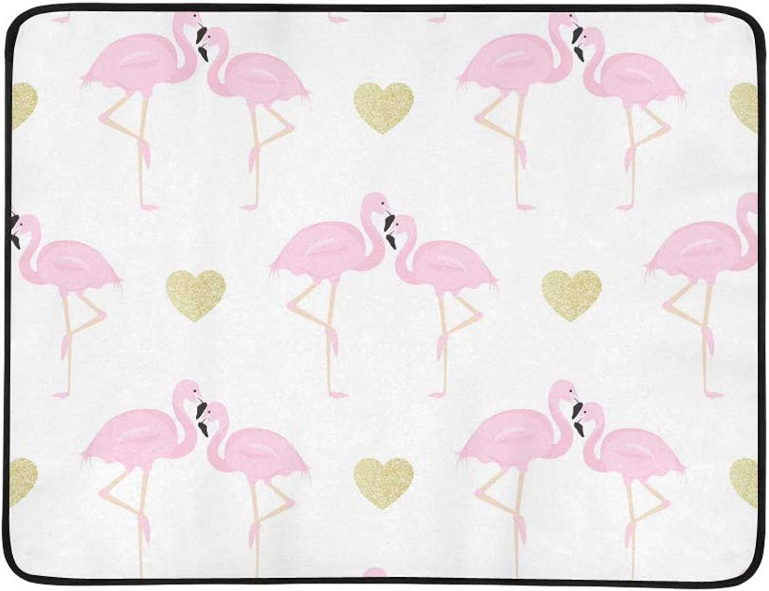 Couple Flamingos and Glitter Hearts Pattern Pattern Portable and Foldable Blanket Mat 60x78 Inch Handy Mat for Camping Picnic Beach Indoor Outdoor Travel