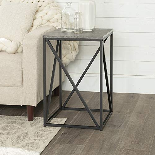 Walker Edison Modern Geometric Metal Square Side Accent Living Room Storage Small End Table, 16 Inch, Dark Concrete Grey