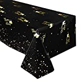 Black and Gold Tablecloth - Disposable Plastic Table Covers for Birthday Baby Shower Graduation Wedding Anniversary Party Supplies,52' x 90' (Cheers & Beers)