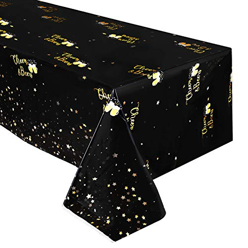 Black and Gold Tablecloth - Disposable Plastic Table Covers for Birthday Baby Shower Graduation Wedding Anniversary Party Supplies,52