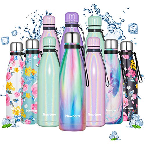 Newdora Stainless Steel Water Bottle, Double Walled Vacuum Insulated flask, BPA-Free, Leakproof Sports Flask, Keeps 12 Hours Hot & 35 Hours Cold