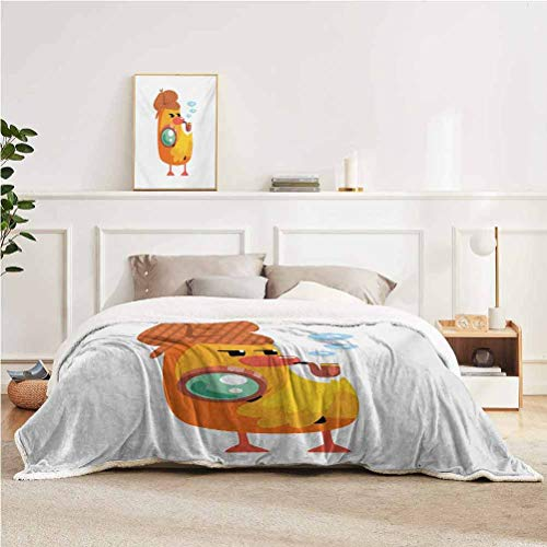 YUAZHOQI Cartoon Throw Blanket for Bed Private Detective Duckling Character with a Magnifying Glass and Pipe Duck Sherlock Blanket for Bedding Sofa and Travel 51' x 71' Multicolor