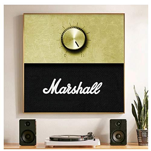 Chihie Marshall Amplificador Perilla de Volumen música Pintura al óleo sobre Lienzo Carteles e Impresiones imágenes artísticas de Pared para Sala de estar-60X60cm sin Marco
