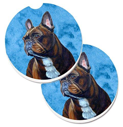 Caroline's Treasures LH9385BUCARC Blue French Bulldog Set of 2 Cup Holder Car Coasters, Large, multicolor