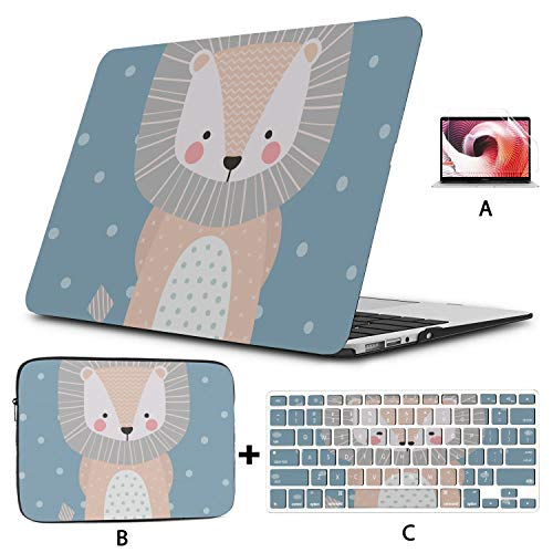 MacBook Air A1466 Case Cute Shy Baby Lion 2018 MacBook Pro Accessories Hard Shell Mac Air 11'/13' Pro 13'/15'/16' with Notebook Sleeve Bag for MacBook 2008-2020 Version