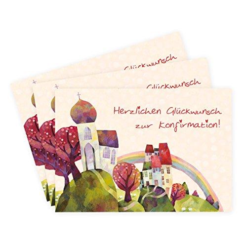 3er Set Karten zur Konfirmation - Kirche mit Regenbogen und Baum - Konfirmationskarten, Glückwunsch, Einladung, Danksagung, rot, grün