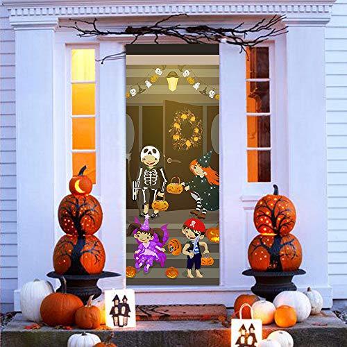 Halloween Door Stickers Window Stickers Halloween Decorations Decals, Haunted House Party Supplies Ornaments, 3D Door Stickers Wallpaper Murals Decals Halloween Party Front Door Gate Decor (A)
