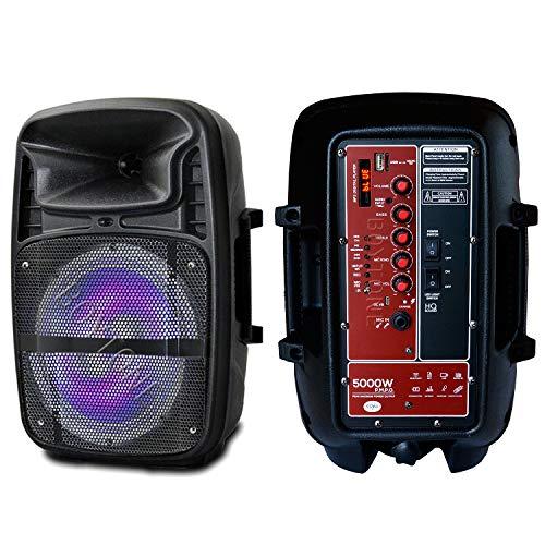8 Inch Bluetooth PA Speaker System, Rechargeable Battery, AC-DC Karaoke DJ Speaker, Dynamic Corded Microphone, Flashing DJ Lights, Music Streaming, FM Radio, MP3, USB Port, TF Slot, Guitar Jack, Stand