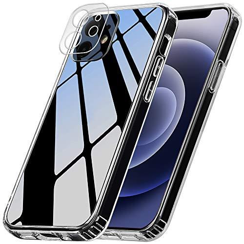 ANEWSIR Kompatibel mit iPhone 12 Hülle, 3 Stück Schutzfolie und 2 Stück Kamera Schutzfolie, 9H Klar Blasenfrei Displayschutz, weiche TPU Silikon Case Cover - Transparent