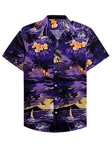 Alimens & Gentle 100% Cotton Regular Fit Short Sleeve Casual Hawaiian Shirt for Men - S