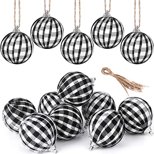 Fvviia Christmas Buffalo Plaid Fabric Ball Ornament Decorations Christmas Tree Hanging Ornaments Christmas Balls Decoration Holiday Party Xmas Decor (White and Black-12 Pieces)
