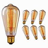 Ampoule Edison Vintage, Massway  Rétro Ampoule Edison E27 40W 2700K Dimmable Antique Lampe Décorative Blanc Chaud Filament Ampoule Incandescente 6 Paquets