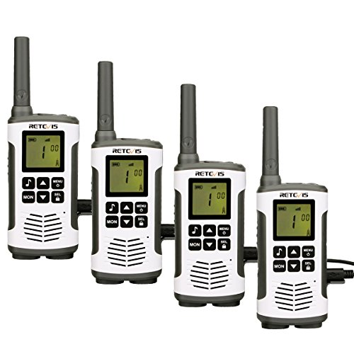 Retevis RT45 PMR Funkgerät Lizenzfrei Walkie Talkies Set 16 Kanäle VOX Rufton Taschenlampe Wiederaufladbar Walkie Talkie USB Ladekabel(2 Paar)