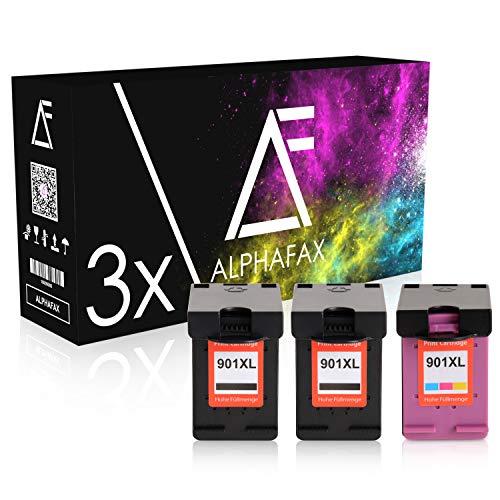 3 Alphafax Tintenpatronen kompatibel mit HP 901XL CC654AE CC656AE OfficeJet J 4500 4524 4535 4540 4550 4580 4600 4624 4660 4680 C Series Wireless - Schwarz je 20ml, Color 21ml