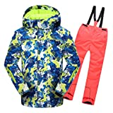 Lvguang Hiver Garçons Filles Vêtements de Ski Chauds Imperméables Veste à Capuche & Pantalons de Ski de Épaisse (Orange#2, Asia 3XL)