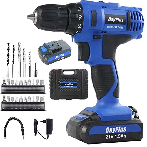 Blue Cordless Drill Set, Mini Electric Screwdriver Power Driver Kit, 21V Rechargeable Li-Ion Battery, 18+1 Torque Setting, 29Pcs Accessory Kit, Variable Speed, Strong and Tight Drilling Electric Drill