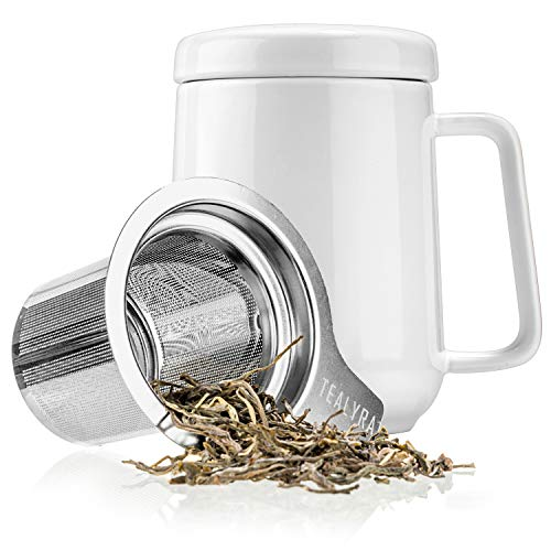 Tealyra - Peak Ceramic White Tea Cup Infuser - 19-ounce - Large Tea High-Fired Ceramic Mug with Lid and Stainless Steel Infuser - Tea-For-One Perfect Set for Office and Home Uses - 580 milliliter