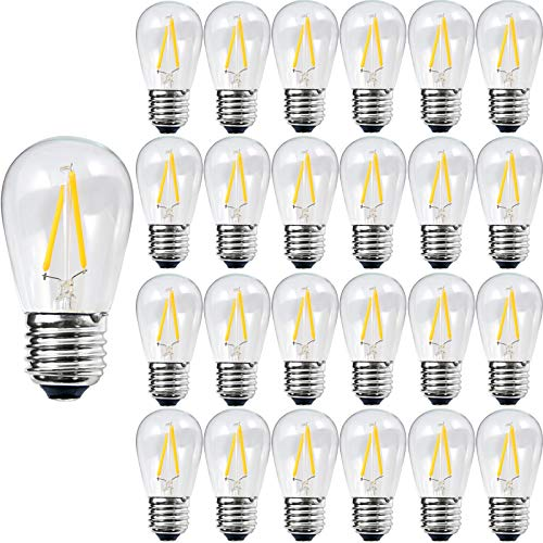 S14 LED Light Bulb, ROMANJOY 25 Pack String Light Bulbs Replacement, E26 Base, 2700K Dimmable, 2Watt to Replace 20W/25W In.