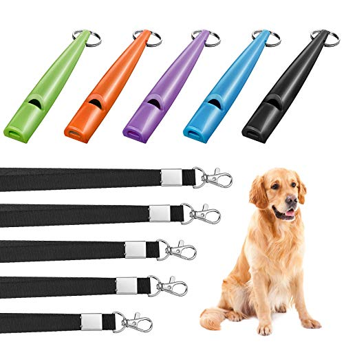 Weewooday 5 Pieces High Pitch Plastic Dog Whistles for Recall Training