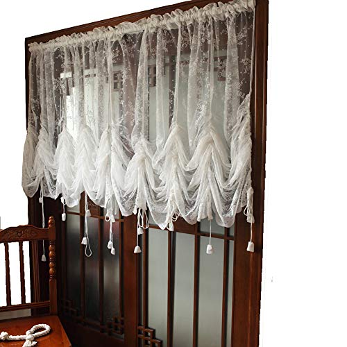 Lyfreen Elegant White Lace Embroidered Sheer Ballon Curtains, Adjustable Tie-Up Sheer Drape for Living Room Bedroom Dining Room, 1 Panel W 52 x L 72 inch