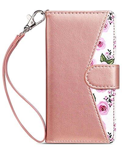 Dailylux iPhone 5 Funda, iPhone SE Funda, iPhone 5S Funda,Premium Soft PU Funda de Cuero Magnética Cierre Flip Funda con 9 Ranuras para Tarjetas, Funda Bling para iPhone 5/5S/SE, Flower Rosa