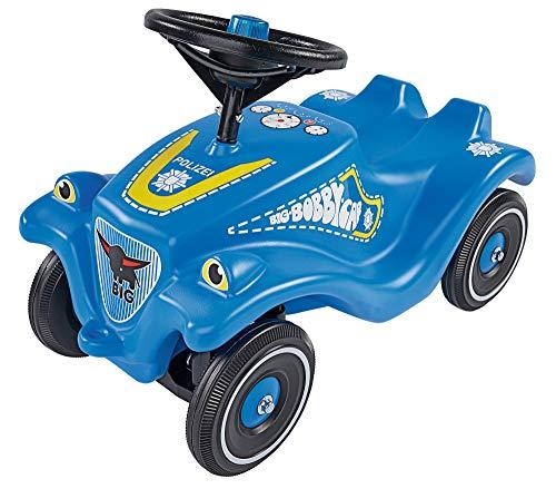 BIG-Bobby-Car Classic Police - Kinderfahrzeug mit Aufklebern im Polizei Design für Jungen und Mädchen, belastbar bis zu 50 kg, Rutschfahrzeug für Kinder ab 1 Jahr, blau
