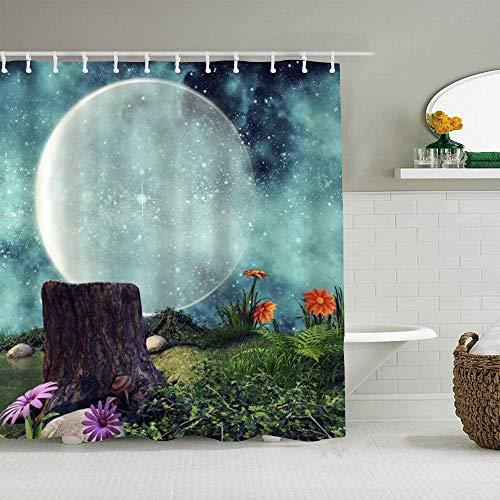 N\A Duschvorhang Mond Fee Sternenhimmel Fantasie Nachtblumen Pflanzen Baumstumpf wasserdichte Badvorhänge Haken enthalten - Badezimmer Dekorative Ideen Polyester Stoff Zubehör