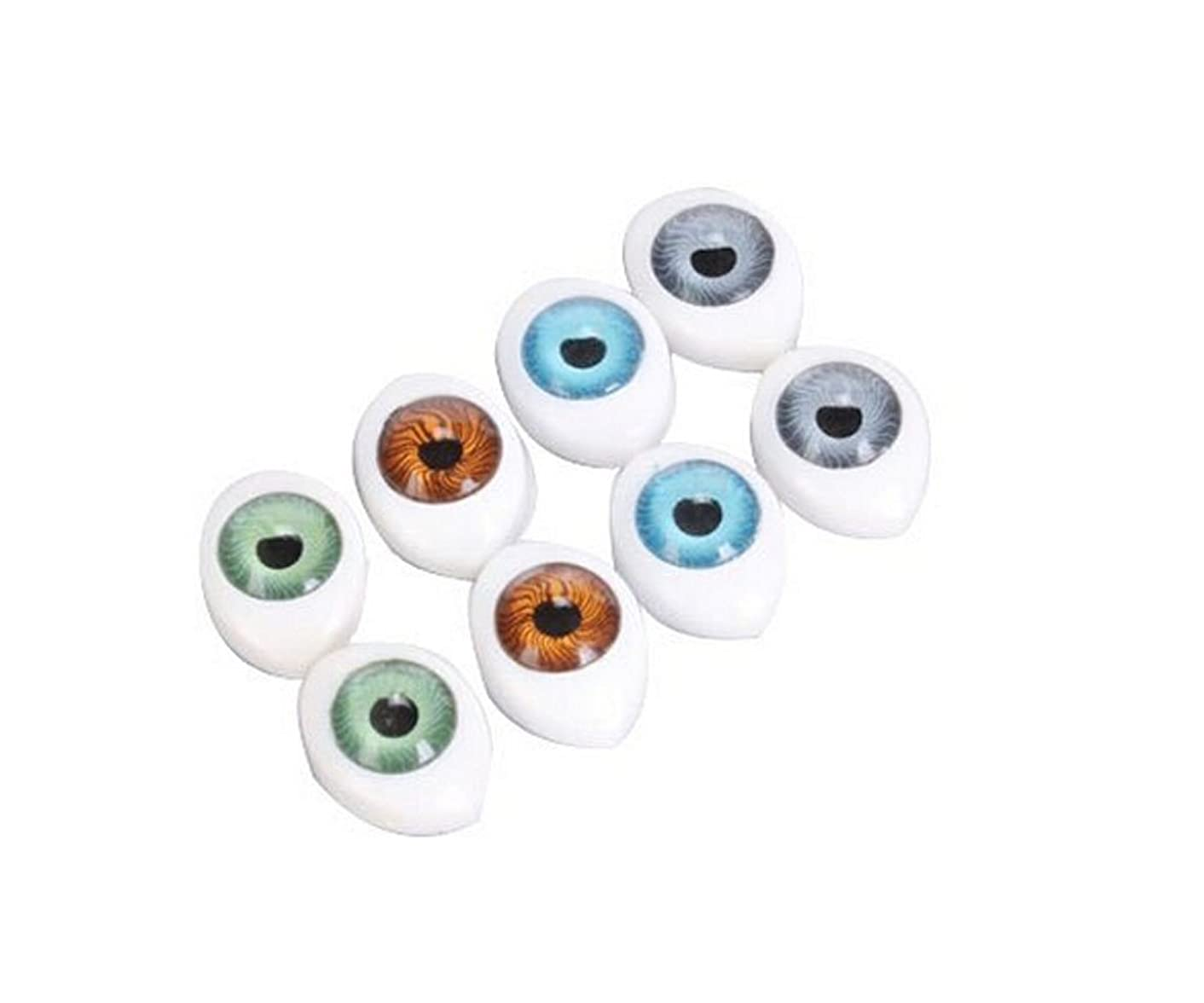 8 Pairs(16PCS) Oval Flat Hollow Back Plastic Eyes Puppet Doll Bear Craft Eyes Eyeballs Mask Making DIY Supplies for Porcelain or Reborn Dolls Stuffed Animal Toys Troll Scary Eyes 10mm x 14mm