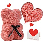 gifts for women – rose bear – rose flower bear hand made rose teddy bear – gift for valentines day, mothers day, wedding and anniversary & bridal showers – w/clear clear gift box 10 inch (champagne)