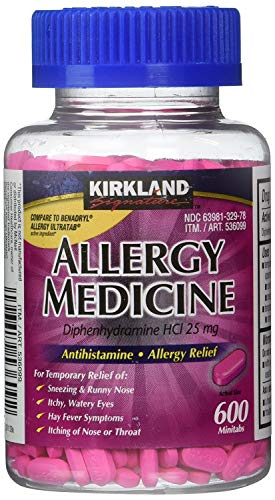 Diphenhydramine HCI 25 Mg - Kirkland Brand - Allergy Medicine and AntihistamineCompare to Active Ingredient of Benadryl Allergy Generic - 600 Count Personal Healthcare / Health Care