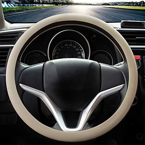 Coprivolante elegante in morbido silicone antiscivolo, decorazione per il volante dell'auto (Beige)