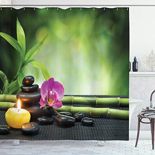ABAKUHAUS japanisch Duschvorhang, Orchidee Bambusstangen, mit 12 Ringe Set Wasserdicht Stielvoll Modern Farbfest & Schimmel Resistent, 175x240 cm, Apfelgrün Fuchsienfarben