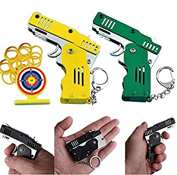 COLAXI Pocket Rubber Band Mini Gun Rifle Keychain for Adults and Kids,Mini Toothpick Crossbow Shooter,Pop Toy Handgun Pistol Shot Games Yellow