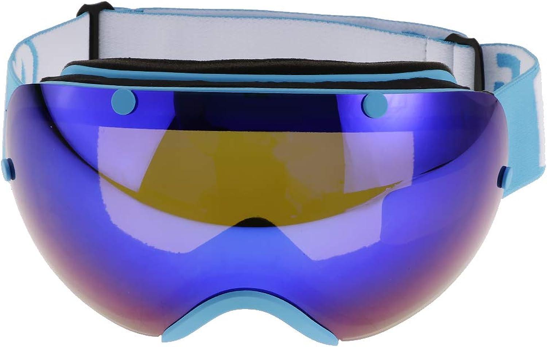 Prettyia Performance Ski Snowboard Snow Goggles with UV Predection AntiFog Spherical AntiSlip Strap for Men Women Winter Outdoor Sports