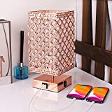 Bedside Lamp Crystal Bedroom Lamp Touch Control Table Lamps with USB Port and Outlet 3 Way Dimmable Nightstand Lamp Rose Gold Table Lamp for Bedroom Crystal Table Lamp with Charging Port Bulb Included