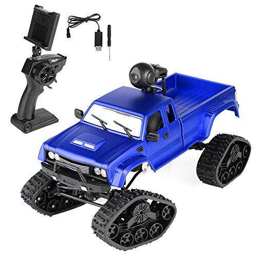 Dilwe RC Truck 4 Channels Remote Control 2.4GHz RC Military Truck Electric Crawler Car Vehicle with Headlamp(Track, 0.3MP Camera-Blue)