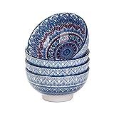 vancasso Mandala Set di Ciotole per Cereali 4 Pezzi Servizio di Ciotole per Gelato Servizio Combinato di Stile Bohémien per 4 Persone Scodelle Coppette Ø 15 cm Colore Vintage Turchese