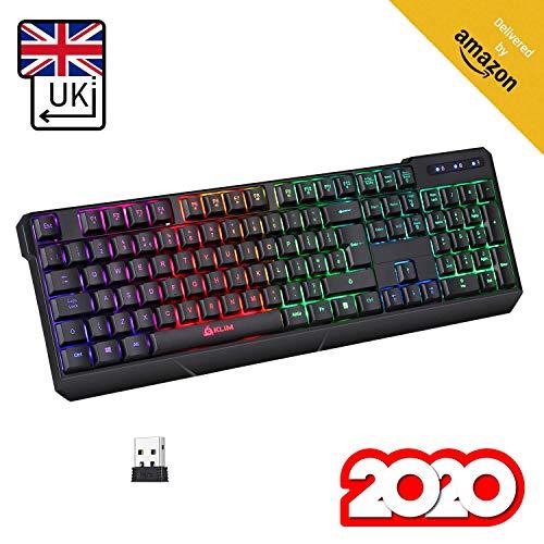 KLIM Chroma Tastatur Gamer QWERTY UK Layout Wireless – Hohe Leistung – Bunte Beleuchtung - Schwarz - RGB PC Windows, Mac PS4