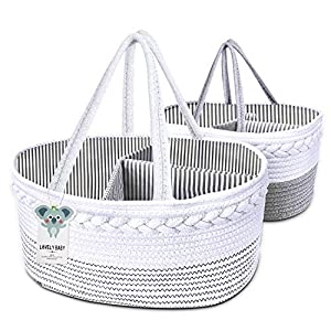 2 Packs Baby Diaper Caddy Organizer, 100% Cotton Rope Nursery, Stylish Portable Rope Nursery Storage Bin with Removable Insert for Changing Table Baby Shower (Gray/White)