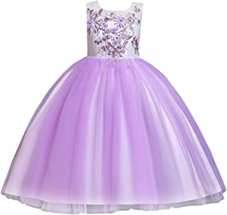 Zhhlaixing Flower Girl Dresses Embroidery Mesh Dress Dance Tutu Dress Lace Ball Gown for Wedding Party Pageant Birthday Evening Prom Party 2-14 Years