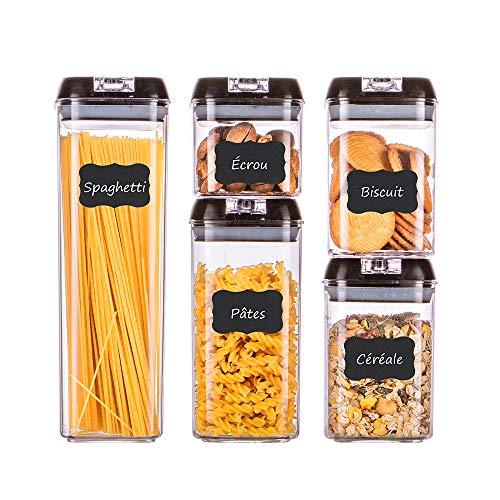 Homelody Boîte Hermetique Alimentaire Lot de 5 Boîtes Boîte de Conservation Alimentaire Sans BPA Ensemble de Récipient à Nourriture Noir Boîtes Plastiques Hermétique
