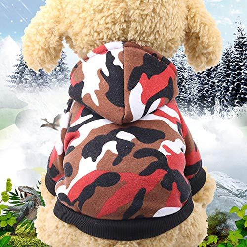 GFFGA Ropa para Perros Chaqueta de Primavera para Mascotas Chaleco de Camuflaje cálido de algodón para Perros pequeños Abrigo Sudaderas con Capucha Ropa de Bulldog francés Traje de Gato Monos-Rojo, M